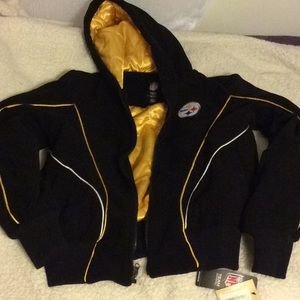 Steelers NFL Team SMALL winter hooded jacket NEW